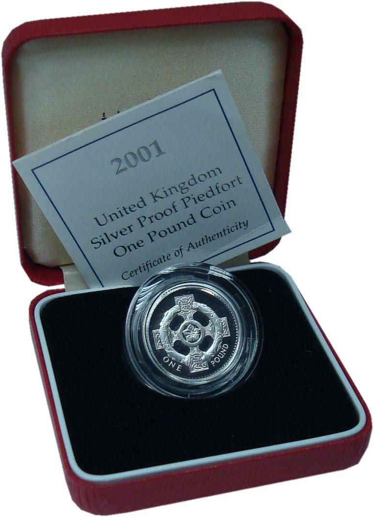 Изображение Подарочные монеты Великобритания 1 фунт 2001 Серебро Proof Шотландский крест. П