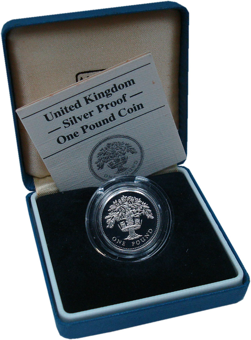 Изображение Подарочные монеты Великобритания 1 фунт 1987 Серебро Proof Английский дуб. Сере