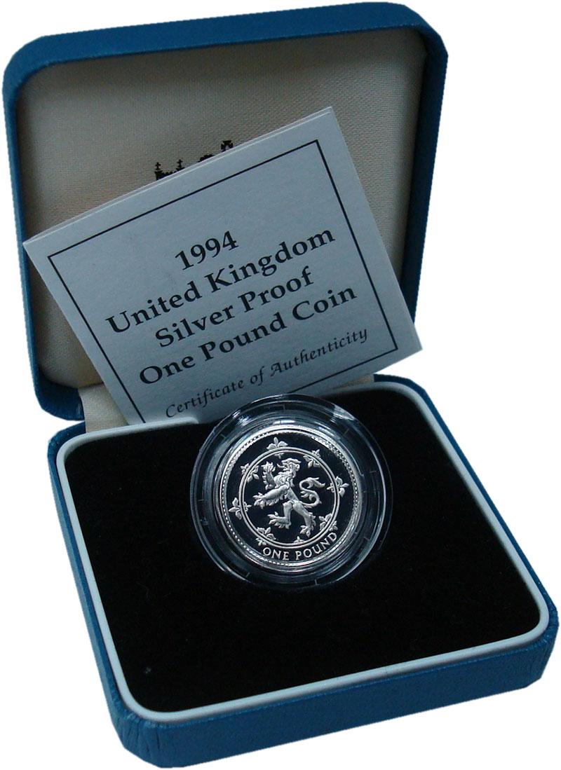 Изображение Подарочные монеты Великобритания 1 фунт 1994 Серебро Proof Шотландский лев. Сер