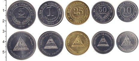 Изображение Наборы монет Никарагуа Никарагуа 2012-2014 0  UNC- В наборе 5 монет ном
