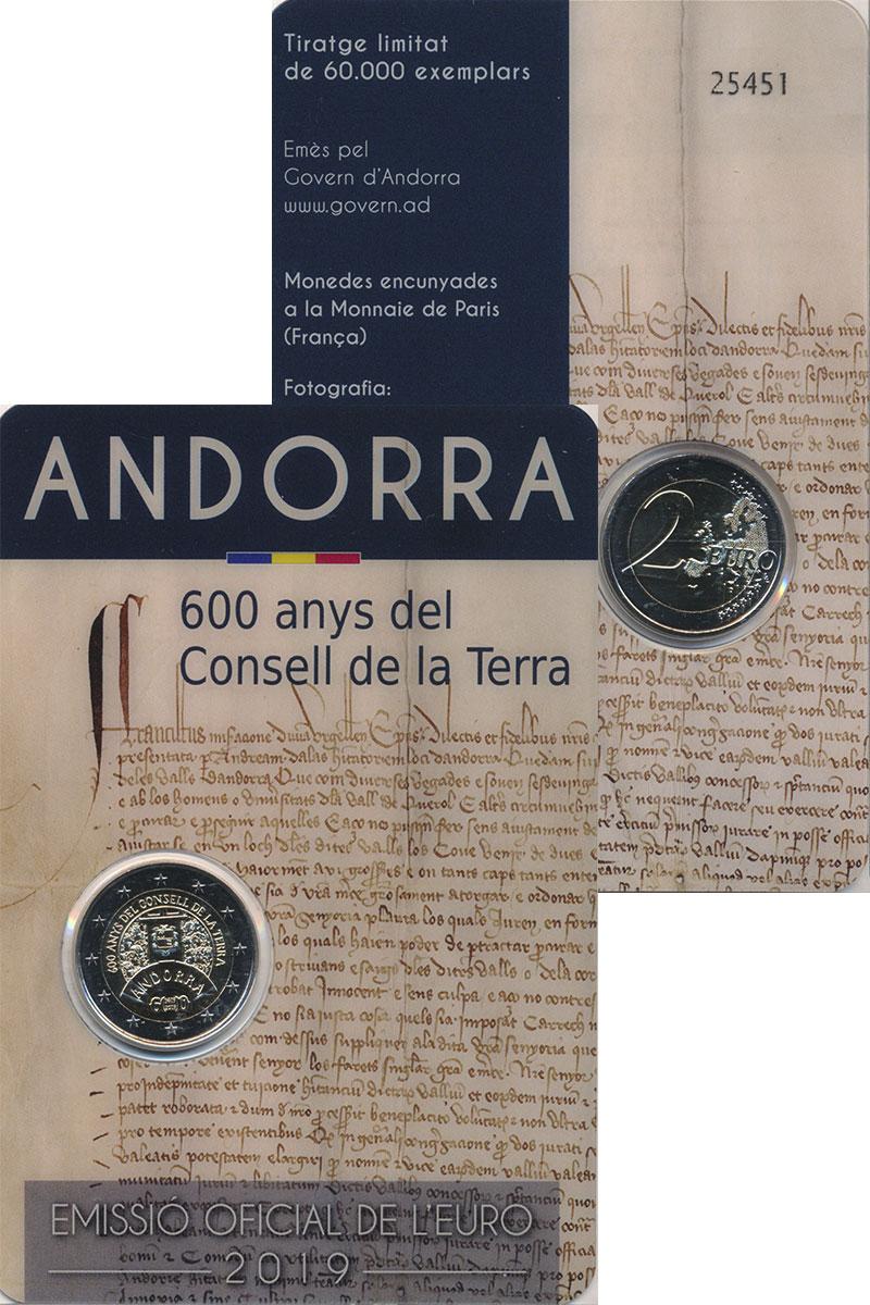 Изображение Подарочные монеты Андорра 2 евро 2019 Биметалл UNC 600 лет Земельного с