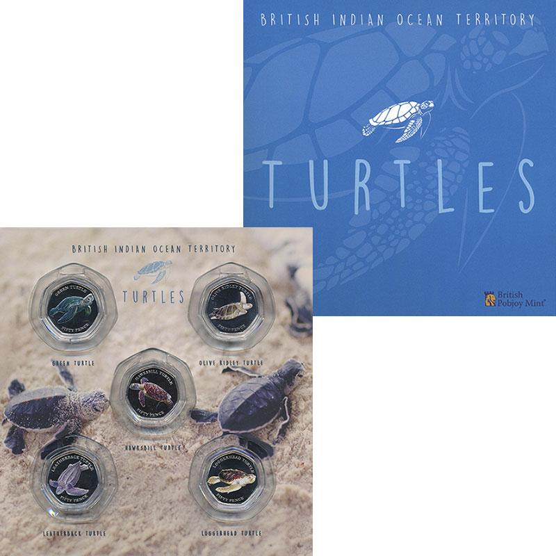 Изображение Подарочные монеты Британско - Индийские океанские территории 50 пенсов 2019 Медно-никель Proof Морские черепахи. На