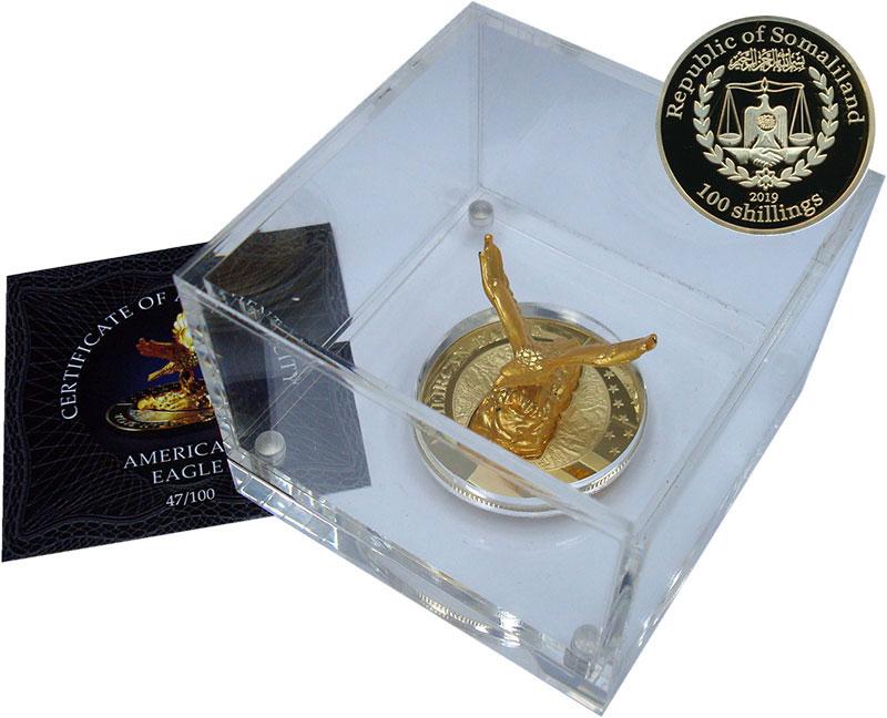 Изображение Подарочные монеты Сомалиленд 100 шиллингов 2019 Медно-никель Proof Монета 3-D. Американ