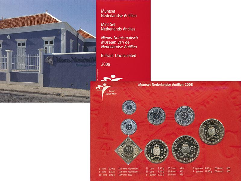 Изображение Подарочные монеты Антильские острова Набор 2008 года 2008  UNC Набор из восьми моне