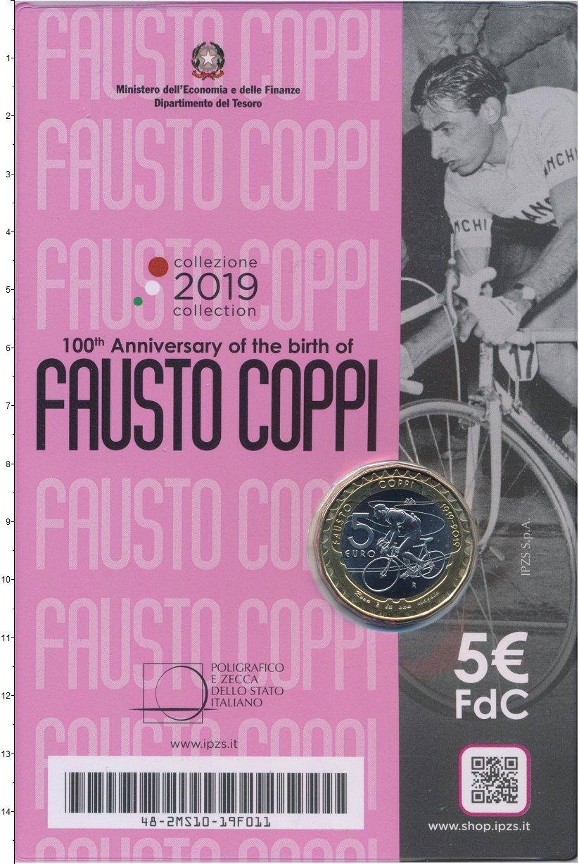 Изображение Подарочные монеты Италия 5 евро 2019 Биметалл UNC 100 лет со дня рожде