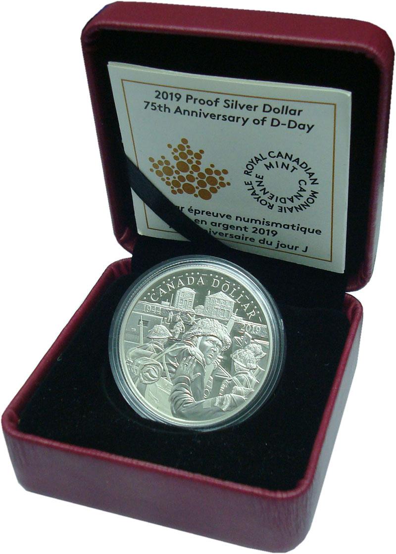 Изображение Подарочные монеты Канада 1 доллар 2019 Серебро Proof 75 лет высадке в Нор