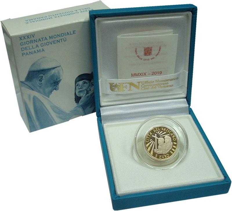 Изображение Подарочные монеты Ватикан 5 евро 2019 Биметалл Proof XXXIV Всемирный день