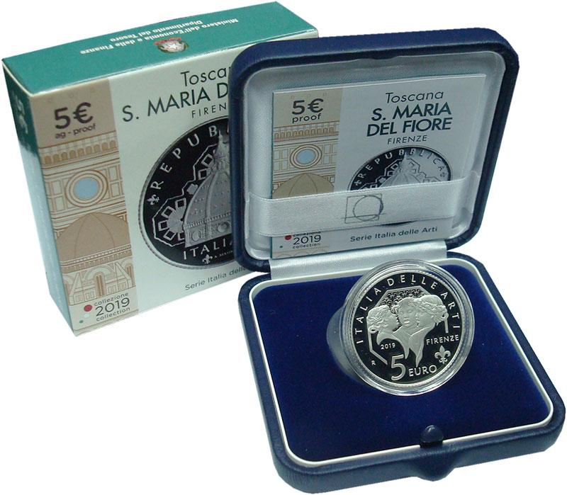 Изображение Подарочные монеты Италия 5 евро 2019 Серебро Proof Тоскана. Собор Санта