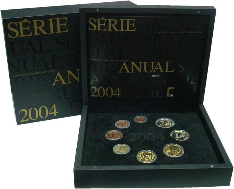 Изображение Подарочные монеты Португалия Набор 2004 года 2004  Proof Набор из 8 монет от