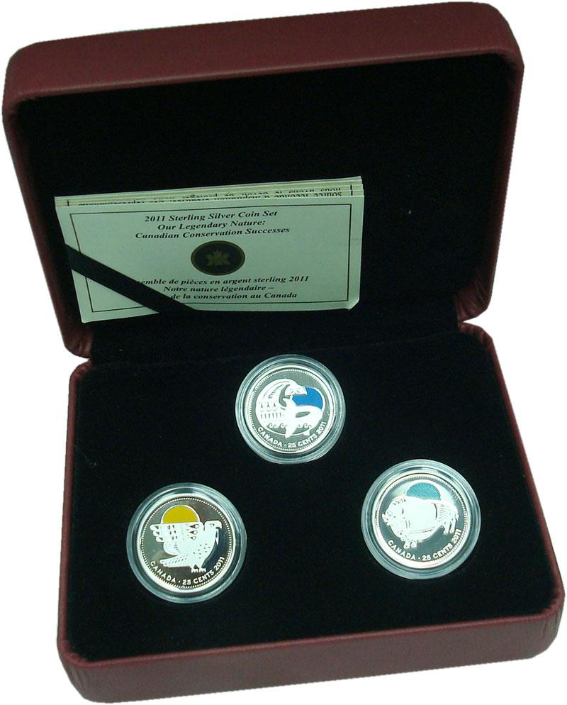 Изображение Подарочные монеты Канада 25 центов 2011 Серебро Proof ```Наша легендарная