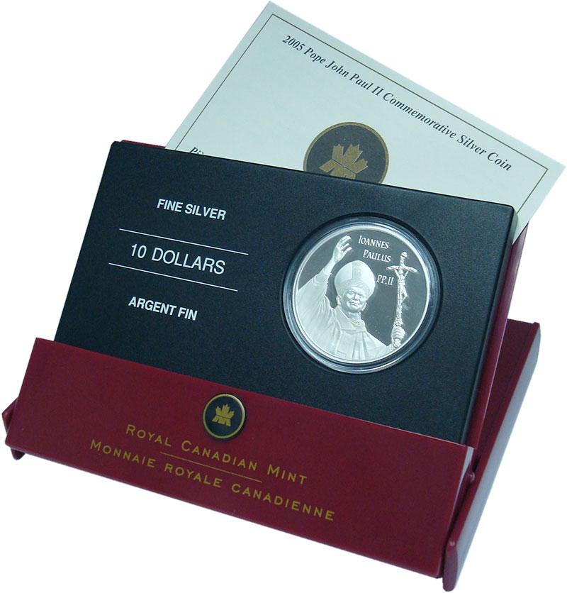 Изображение Подарочные монеты Канада 10 долларов 2005 Серебро Proof Иоанн Павел II. Ориг