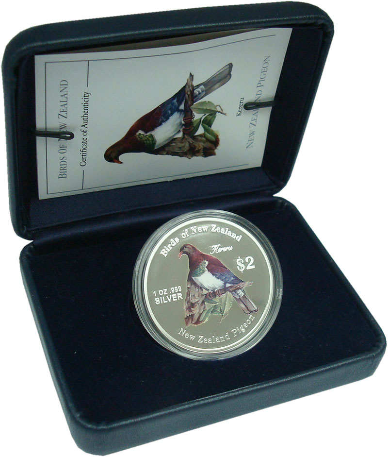 Изображение Подарочные монеты Новая Зеландия 2 долларов 2005 Серебро Proof Новозеландский плодо