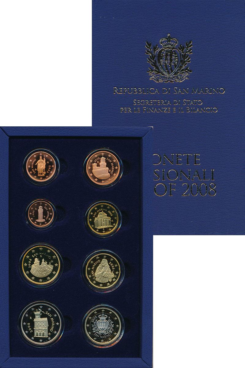 Изображение Подарочные монеты Сан-Марино Набор 2008 года 2008  Proof В набор входят восем