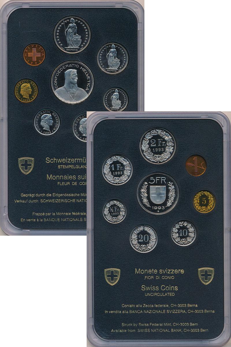 Изображение Подарочные монеты Швейцария Набор 1994 года 1994  UNC В набор входит восем