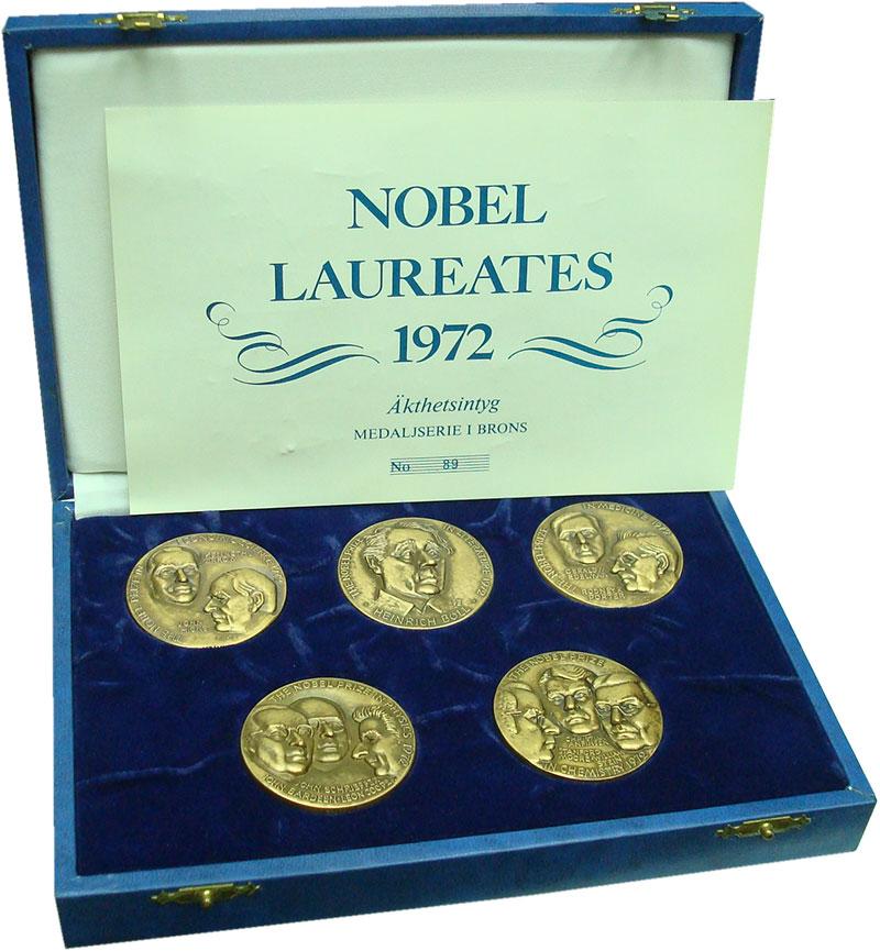 Изображение Подарочные монеты Швеция Нобелевские лауреаты 1972 года 1972 Бронза UNC Набор из 5 медалей в