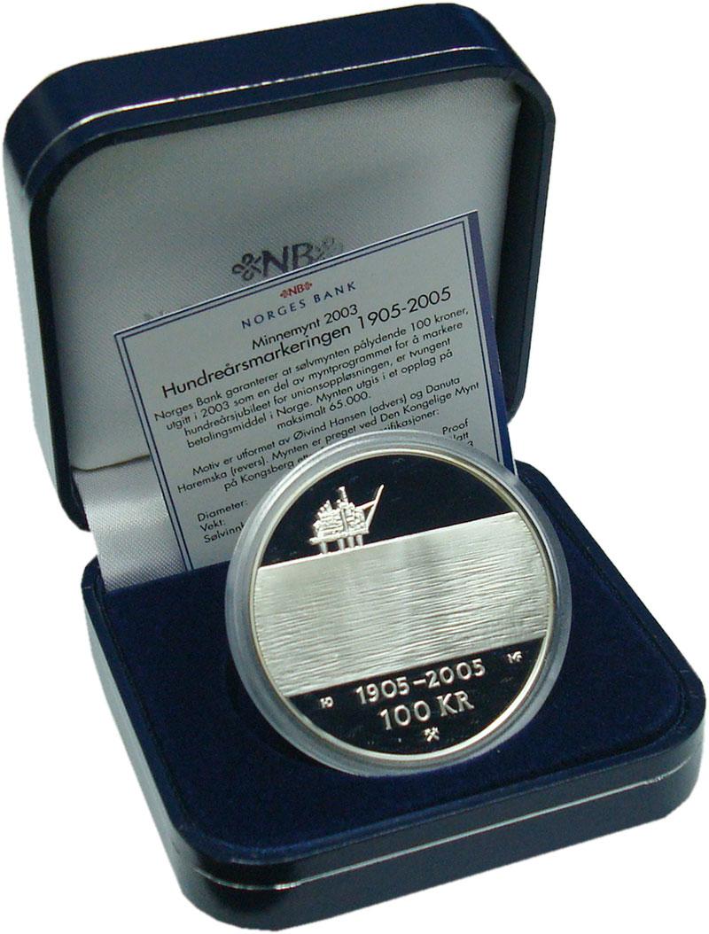 Изображение Подарочные монеты Норвегия 100 крон 2004 Серебро Proof 100 лет союзу между