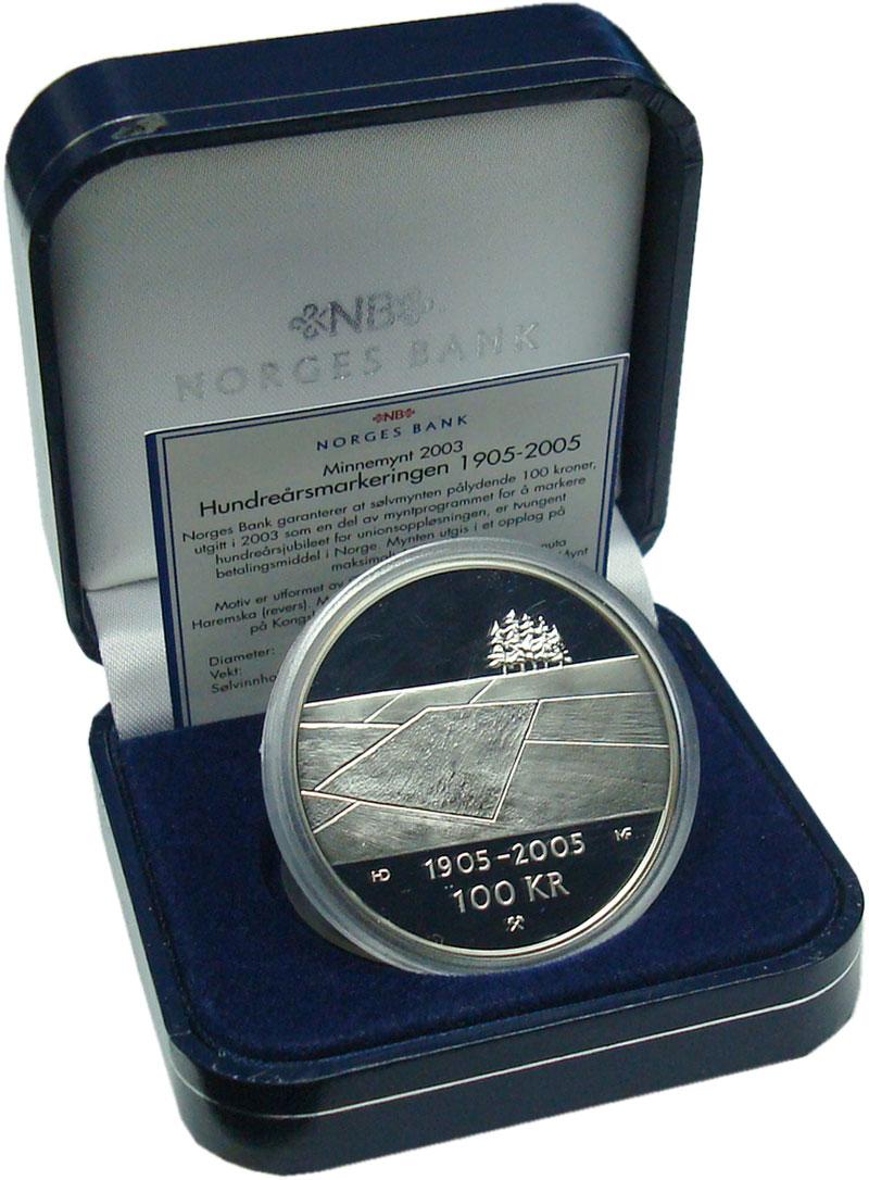 Изображение Подарочные монеты Норвегия 100 крон 2003 Серебро Proof 100 лет союзу между