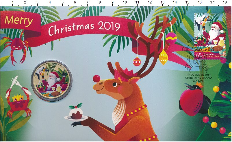 Изображение Подарочные монеты Тувалу 1 доллар 2019 Латунь UNC Рождество. Оригиналь