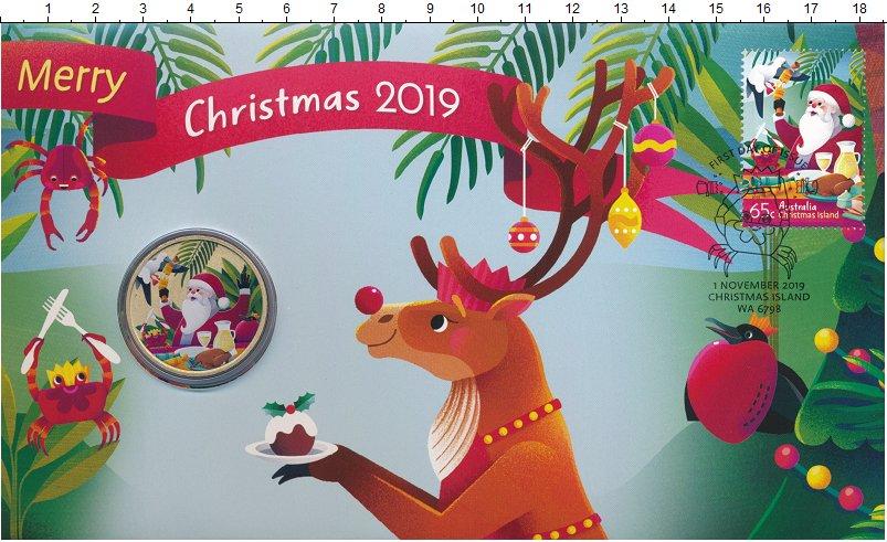 Изображение Подарочные монеты Тувалу 1 доллар 20019 Латунь UNC Рождество. Оригиналь