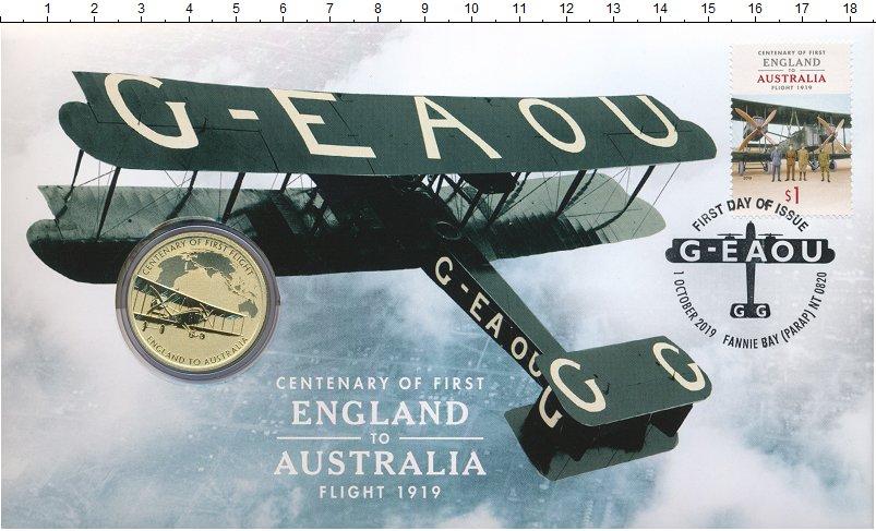 Изображение Подарочные монеты Австралия 1 доллар 2019 Латунь UNC 100 лет первому пере