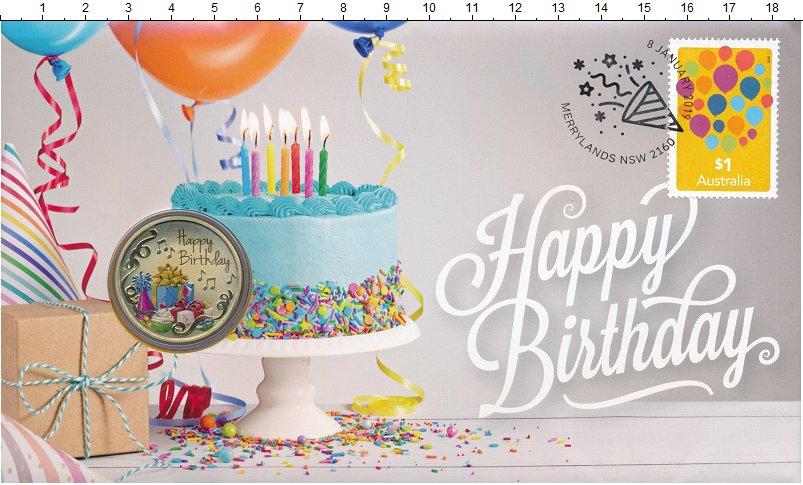 Изображение Подарочные монеты Австралия 1 доллар 2019 Латунь UNC Рождество. Оригиналь