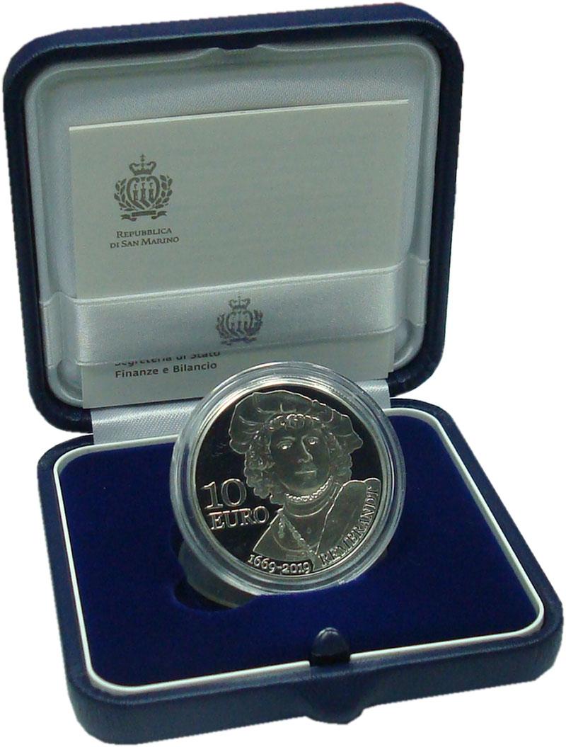 Изображение Подарочные монеты Сан-Марино 10 евро 2019 Серебро Proof Рембрант. Оригинальн