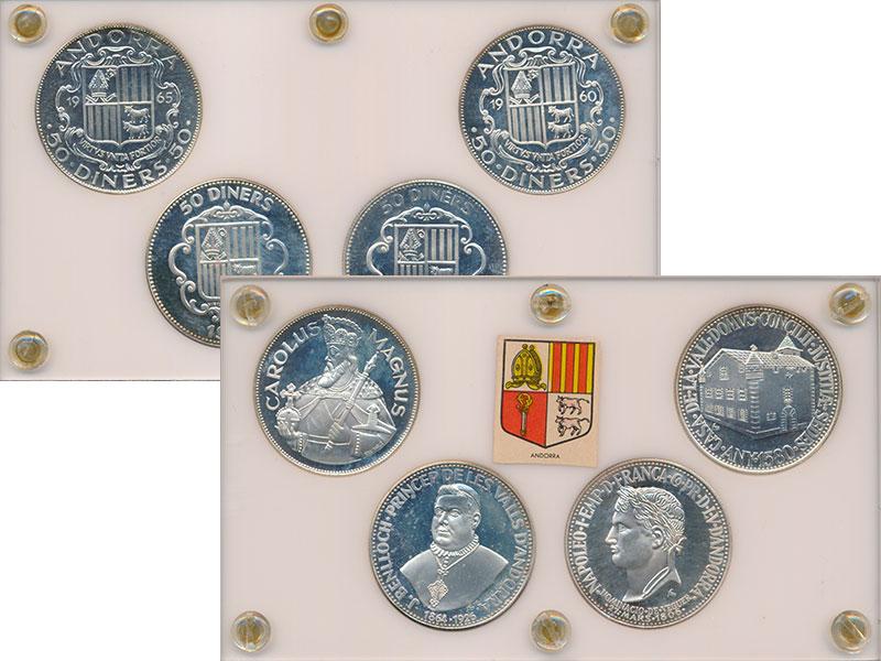 Изображение Подарочные монеты Андорра 50 динерс 0 Серебро Proof- Набор из 4 монет: 19