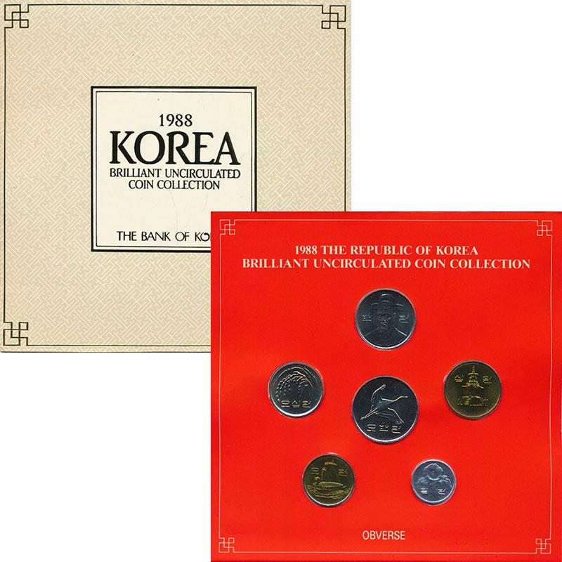 Изображение Подарочные монеты Южная Корея Набор 1988 года 1988  UNC Набор из 6 монет от