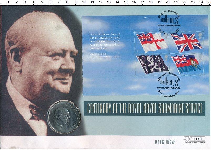 Изображение Подарочные монеты Великобритания 1 крона 1965 Медно-никель UNC Сэр Уинстон Черчилль