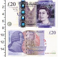 Банкнота Великобритания 20 фунтов 2006 Елизавета II UNC