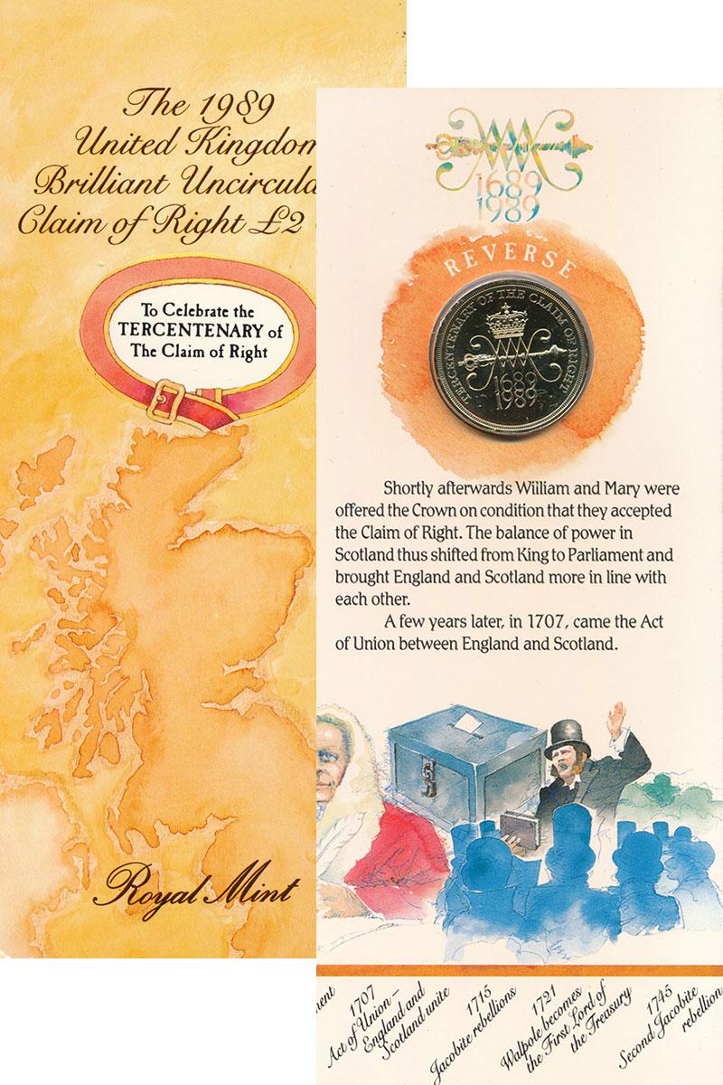 Изображение Подарочные монеты Великобритания 2 фунта 1989 Латунь UNC 300 лет Билля о прав