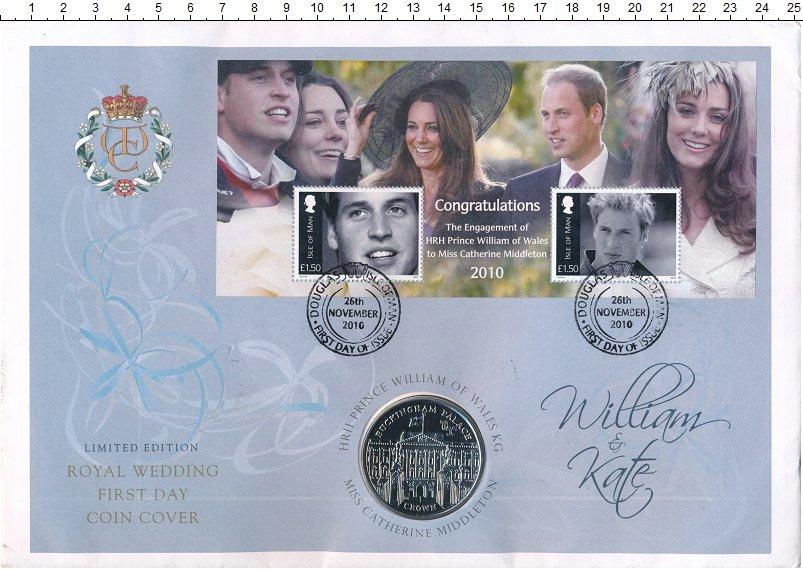 Изображение Подарочные монеты Остров Мэн 1 крона 2010 Медно-никель Proof Королевская свадьба.