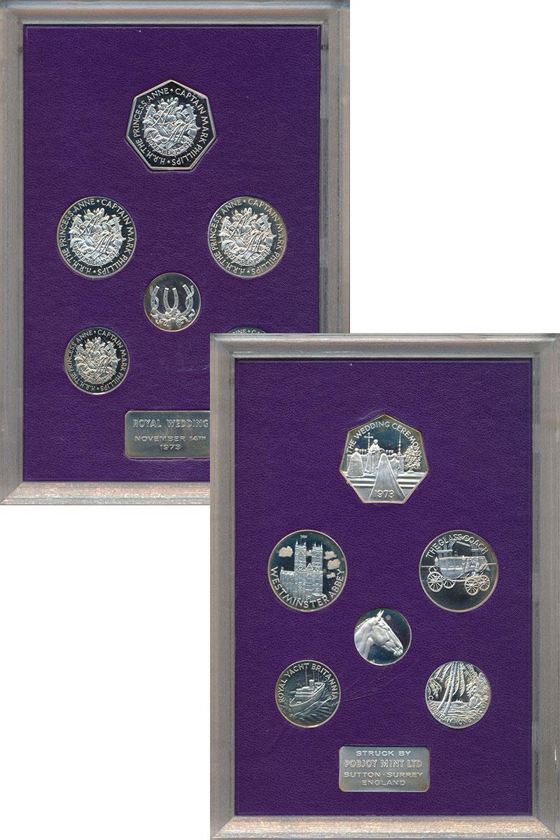 Изображение Подарочные монеты Великобритания Королевская свадьба 1973 1973 Серебро Proof- Набор из 6 памятных