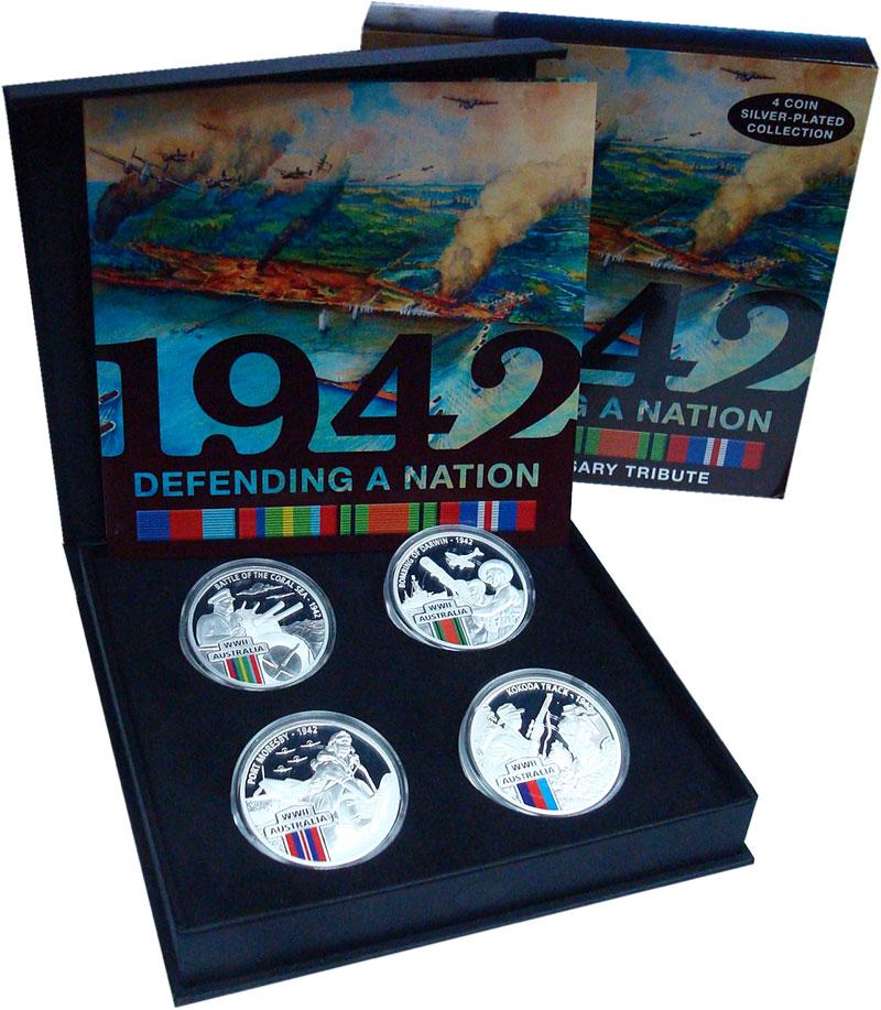 Изображение Подарочные монеты Ниуэ 1 доллар 2017 Серебро Proof Защита нации 1942 го