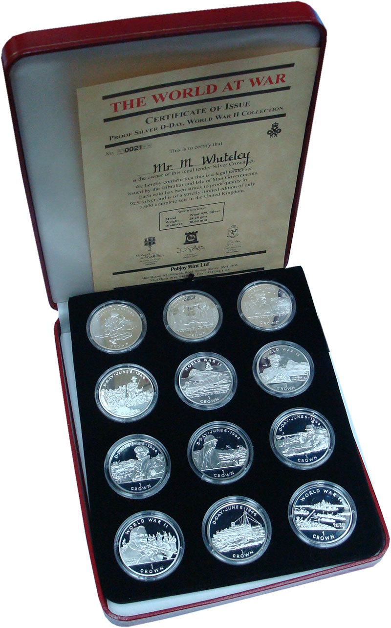 Изображение Подарочные монеты Остров Мэн 1 крона 1994 Серебро Proof- Набор из 12 монет. В