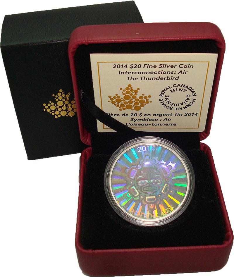 Изображение Подарочные монеты Канада 20 долларов 2014 Серебро Proof Дух птицы грома. Сер