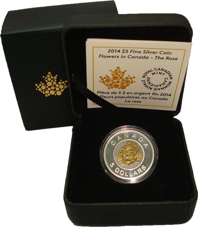 Изображение Подарочные монеты Канада 5 долларов 2014 Серебро Proof Цветы Канады: Роза.