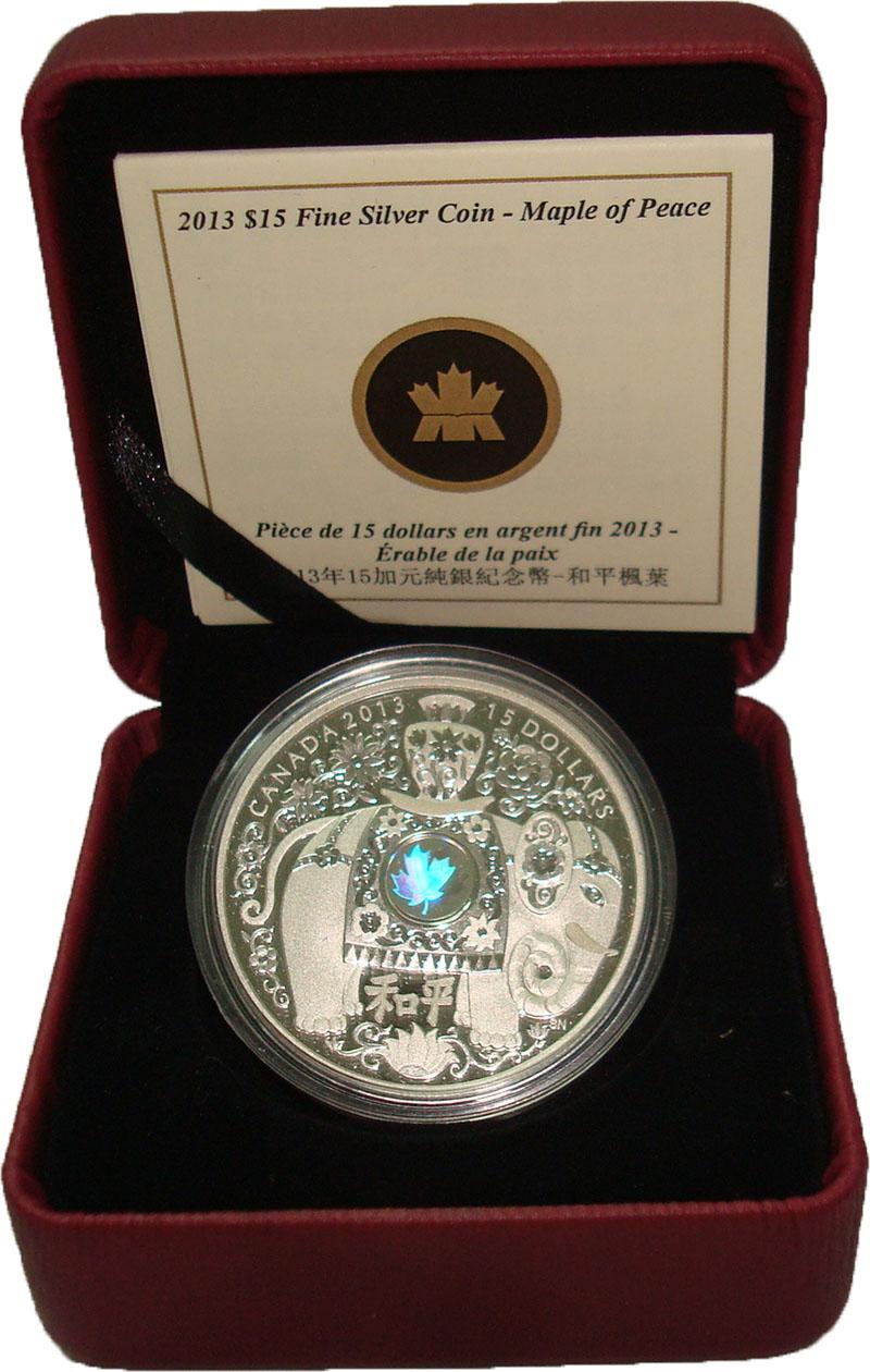 Изображение Подарочные монеты Канада 15 долларов 2013 Серебро Proof Клен мира. Слон. Ори