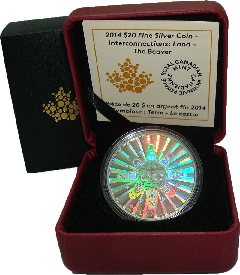 Изображение Подарочные монеты Канада 20 долларов 2014 Серебро Proof Земля. Голограмма. О