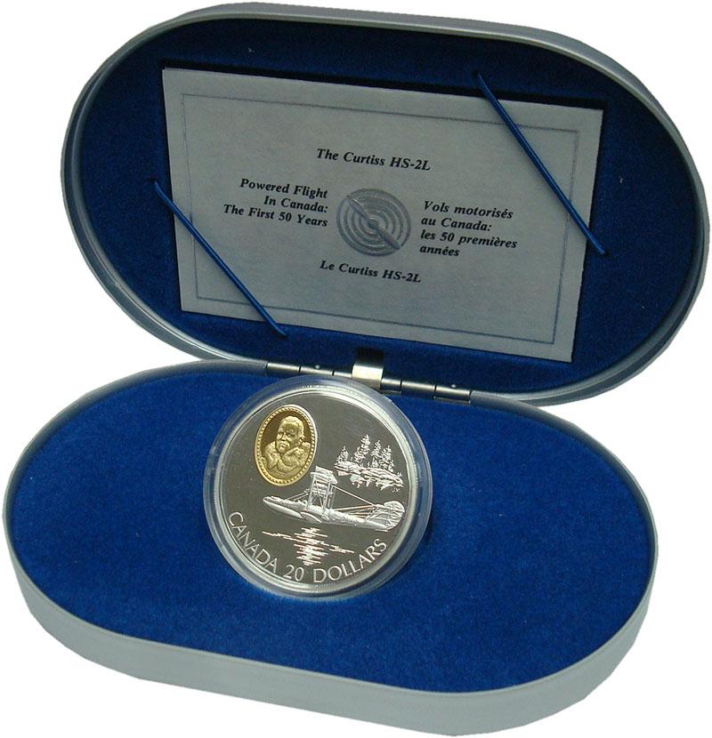 Изображение Подарочные монеты Канада 20 долларов 1994 Серебро Proof Авиация. Кёртисс HS-