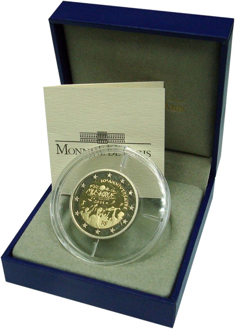 Изображение Подарочные монеты Франция 2 евро 2011 Биметалл Proof 30-летие Дня Музыки
