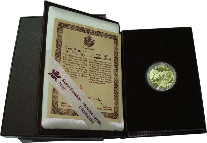 Изображение Подарочные монеты Канада 100 долларов 1996 Золото Proof Клондайк. KM#273, 13