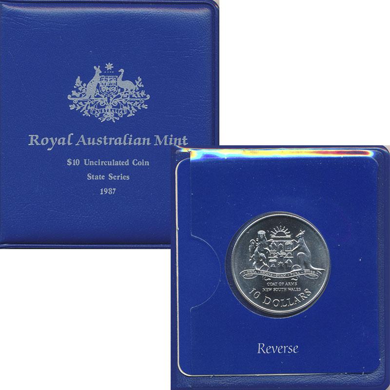 Изображение Подарочные монеты Австралия 10 долларов 1987 Серебро UNC Новый Южный Уэльс. С