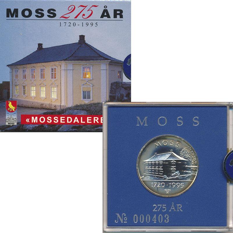 Изображение Подарочные монеты Норвегия Жетон 1995 Серебро UNC 275 лет г.Мосс. Сере