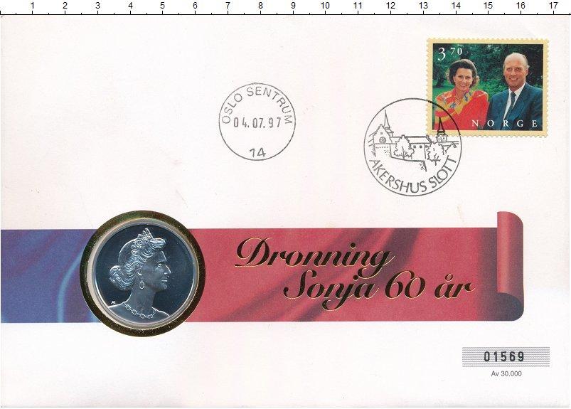 Изображение Подарочные монеты Норвегия Жетон 1997 Серебро UNC- 60 лет со дня рожден