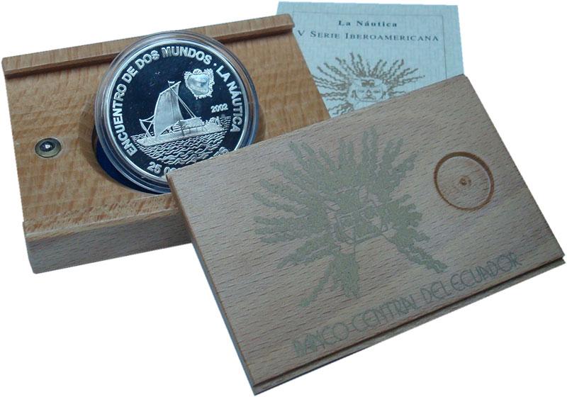 Изображение Подарочные монеты Эквадор 25.000 сукре 2002 Серебро Proof Встреча двух миров.
