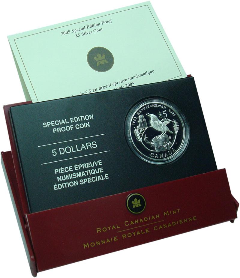 Изображение Подарочные монеты Канада 5 долларов 2005 Серебро Proof 100 лет провинции Са