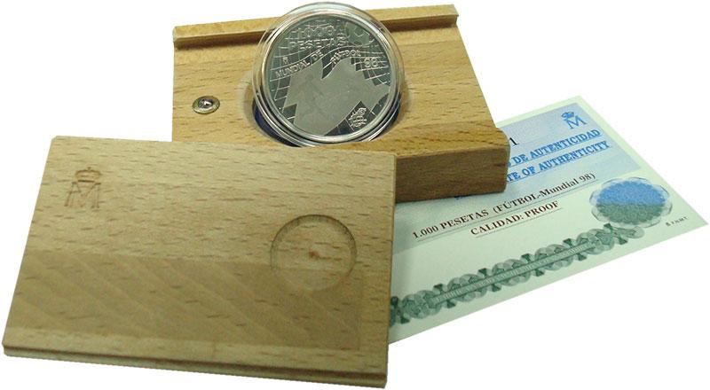 Изображение Подарочные монеты Испания 1.000 песет 1998 Серебро Proof Чемпионат мира по фу