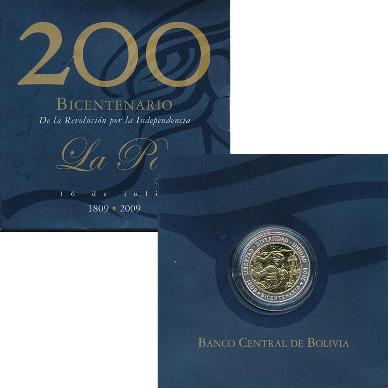 Изображение Подарочные монеты Боливия Жетон 2009 Серебро UNC 200 лет Революции и