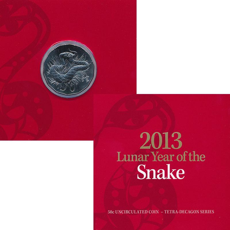 Изображение Подарочные монеты Австралия 50 центов 2013 Медно-никель UNC Год змеи. Оригинальн